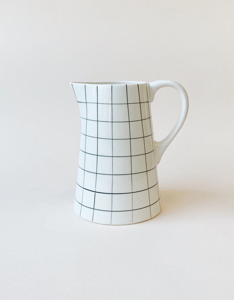 Black Grid Ceramic Pitcher
