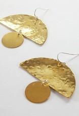 Metrix Jewelry Metrix | Semi Circle and Circle Hammered Earrings