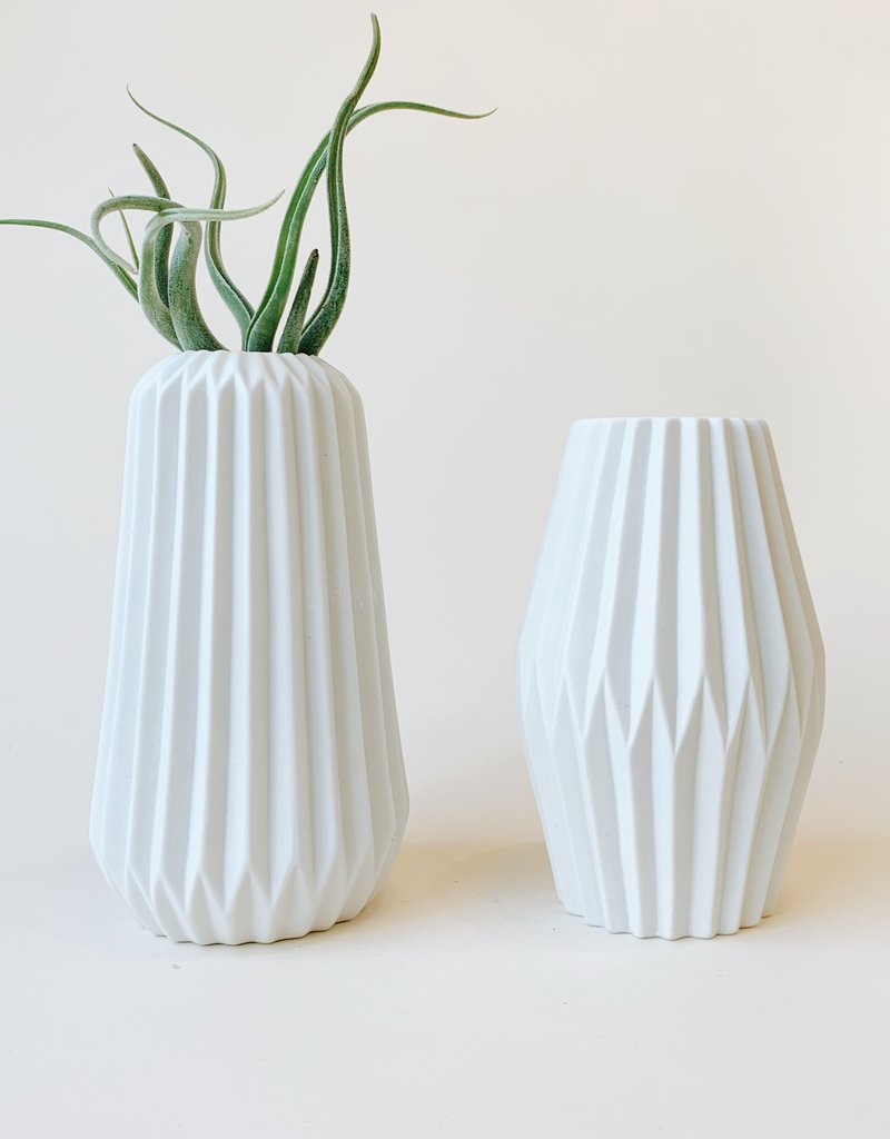 White Pleated Ceramic Vase (Two Styles)