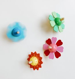 Wooden Spinning Flower Top