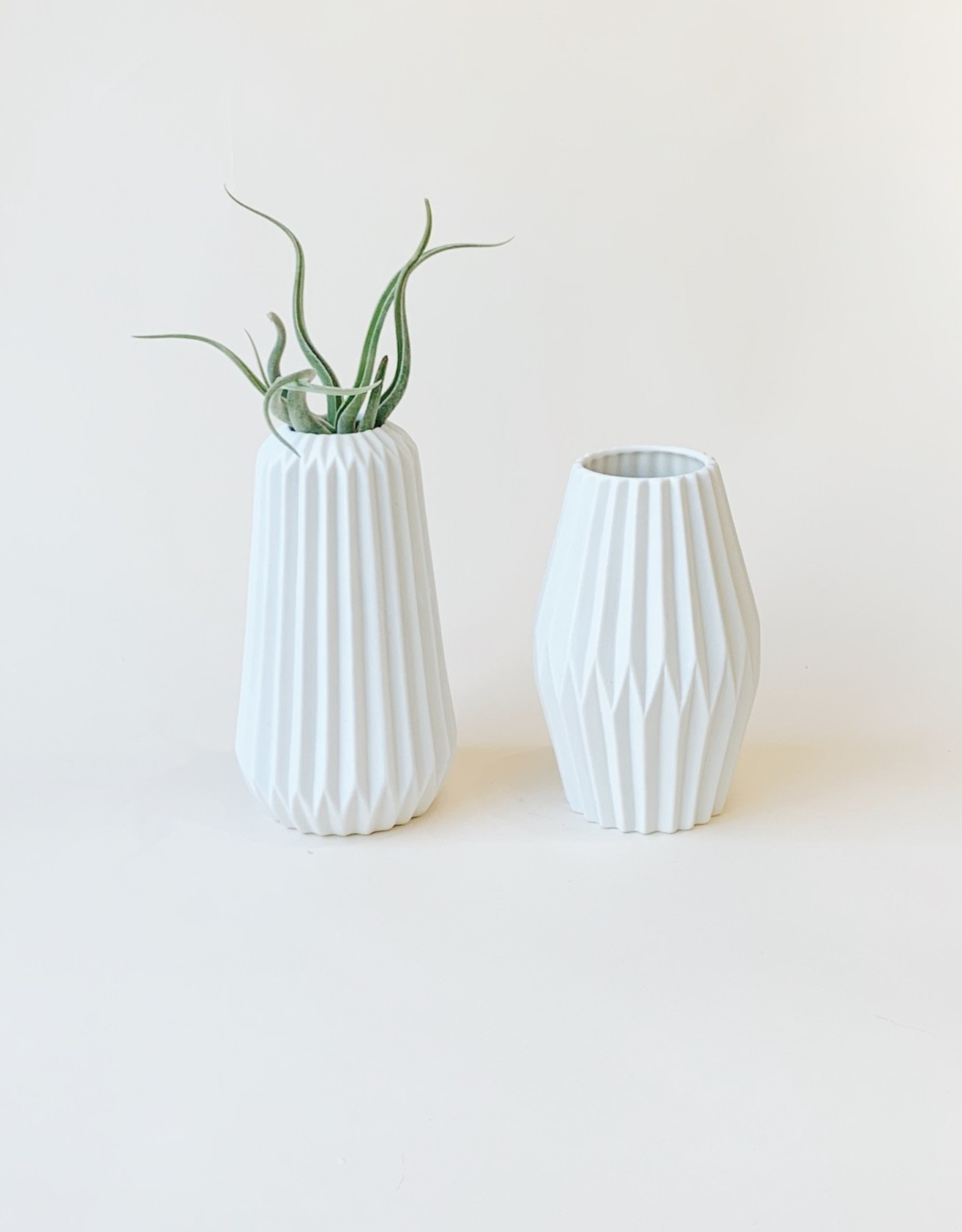 White Pleated Ceramic Vase (Two Styles)