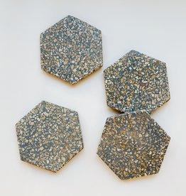 Hexagon Earth Terazzo Coasters