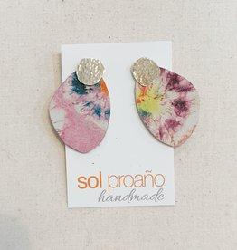 Sol Proaño Sol Proaño | Cuero Earrings #6 (Tie Dye Pink)