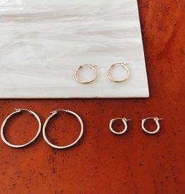 Tumble Silver Medium Hoops Earrings