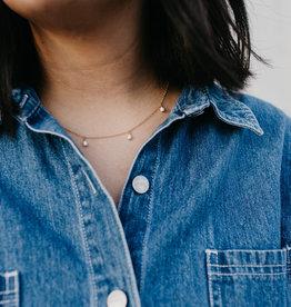 Tumble Tumble   Pearl Dangle Necklace Gold