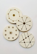 Wood Brass Geometric Coasters