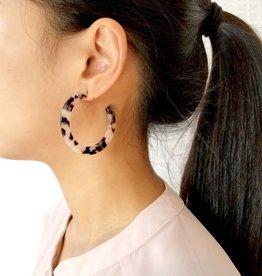 Dear Soho Olivia Ivory Tortoise Flat Hoop Earrings