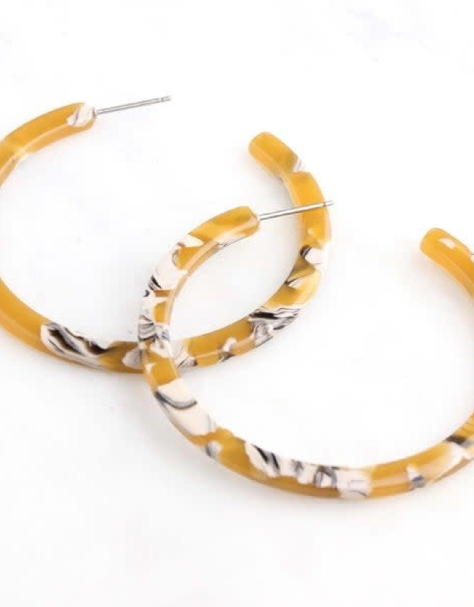 Dear Soho | Marigold Marbled Hoop Earrings