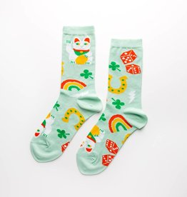Yellow Owl Workshop Lucky Cat & Clover Socks