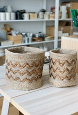 Zig or Zag Jute Storage Baskets (Set of 2)