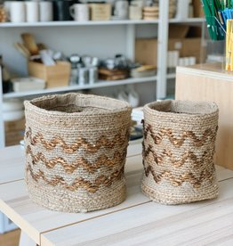 Zig or Zag Jute Storage Baskets (Set of 2)