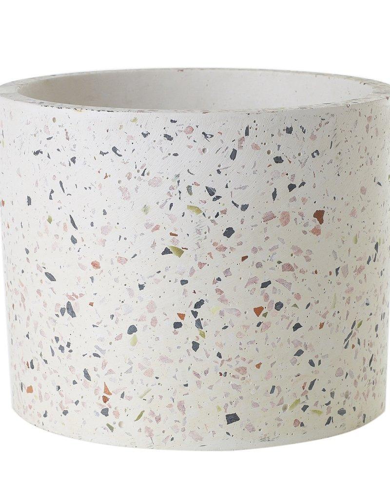 Accent Decor White Terrazzo Pot