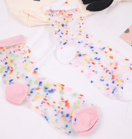 Stay Forever  Sheer Pink Confetti Sock