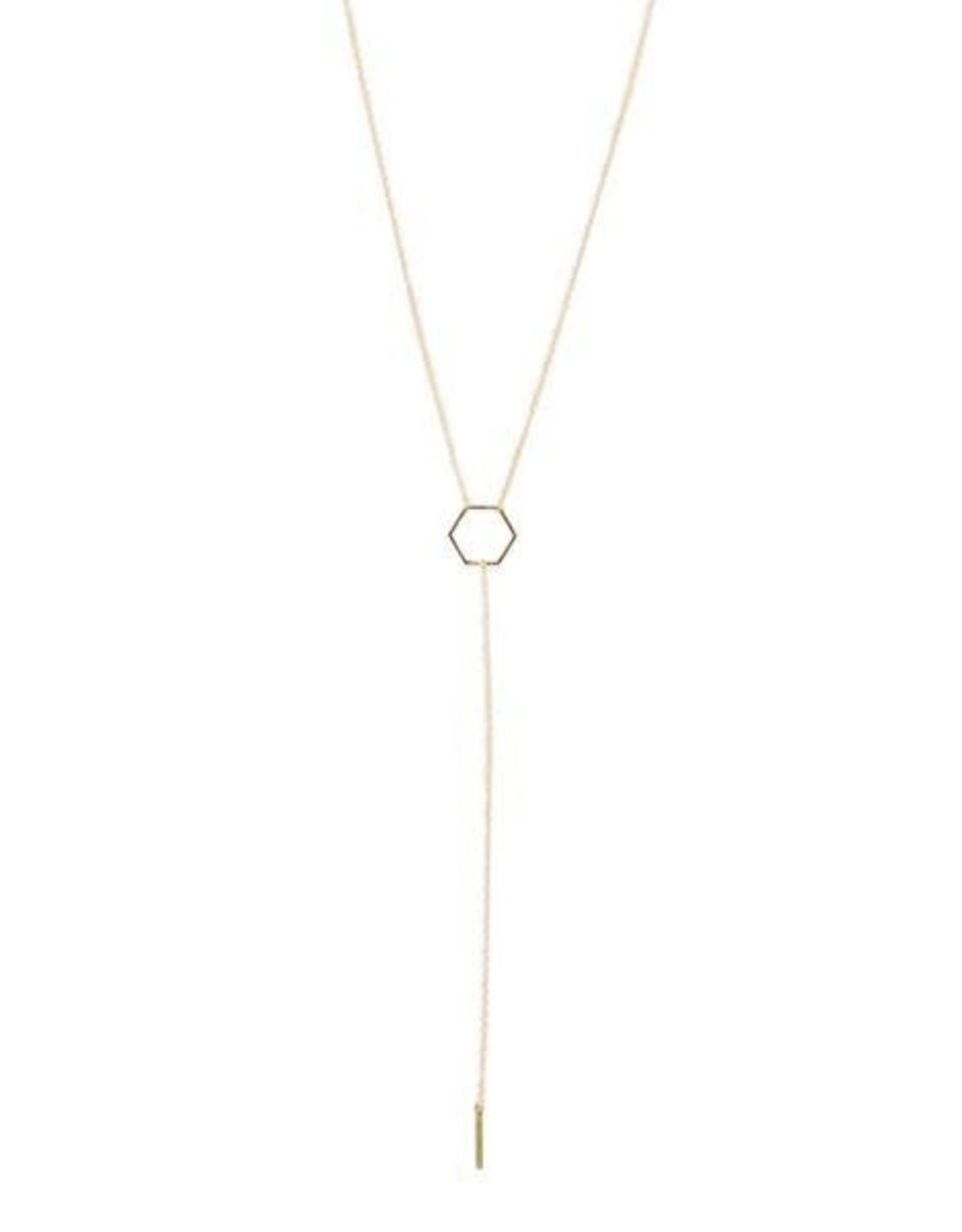 Tumble Tumble | Hexagon Lariat Necklace