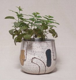 "Echeri Ceramics Echeri Ceramics |  6"" Artisan Planter-Deep Blue & Mustard Yellow"