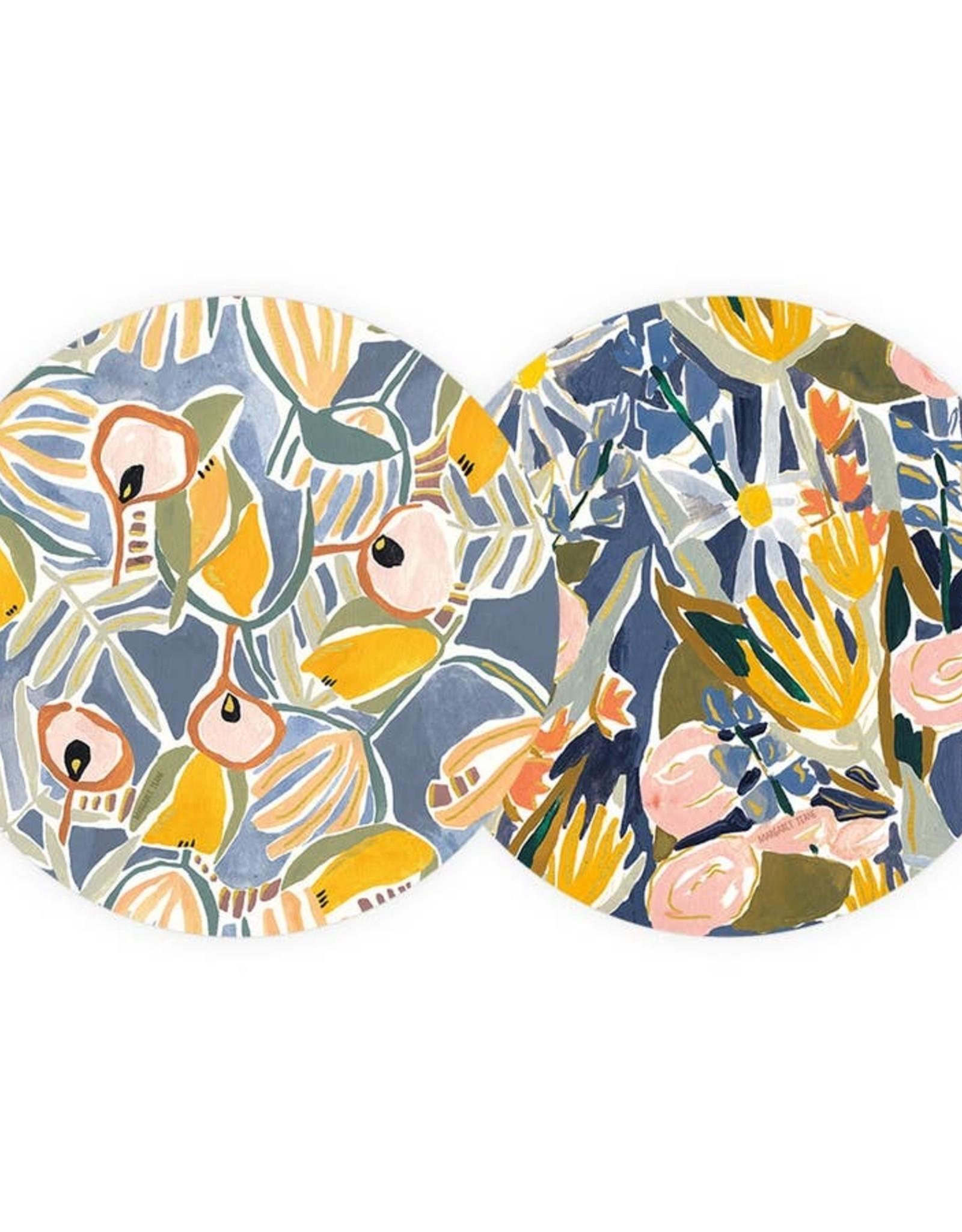 Seedlings Seedlings | Blue and Yellow Floral Coaster Set (6)