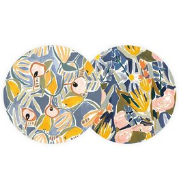 Seedlings Seedlings | Blue and Yellow Floral Coaster Set (6)