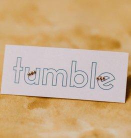 Tumble Gold Three Bead  Studs
