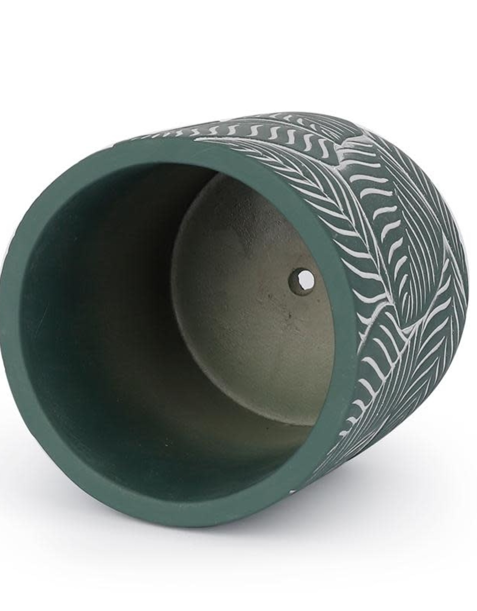 "Potey 4.8"" Green Leaf Cement Pot"