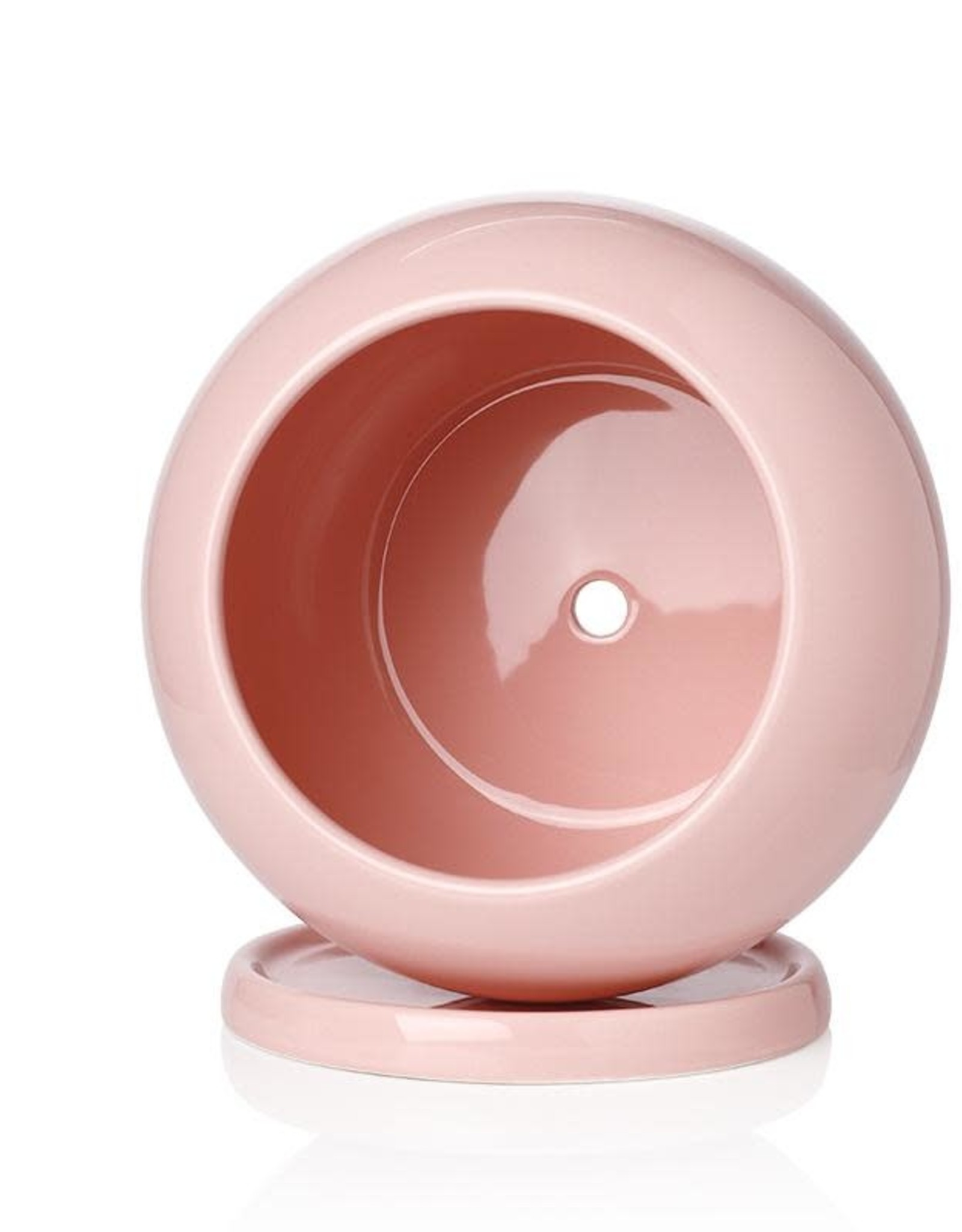 """Potey 5"""" Pink Round Planter with Saucer"""