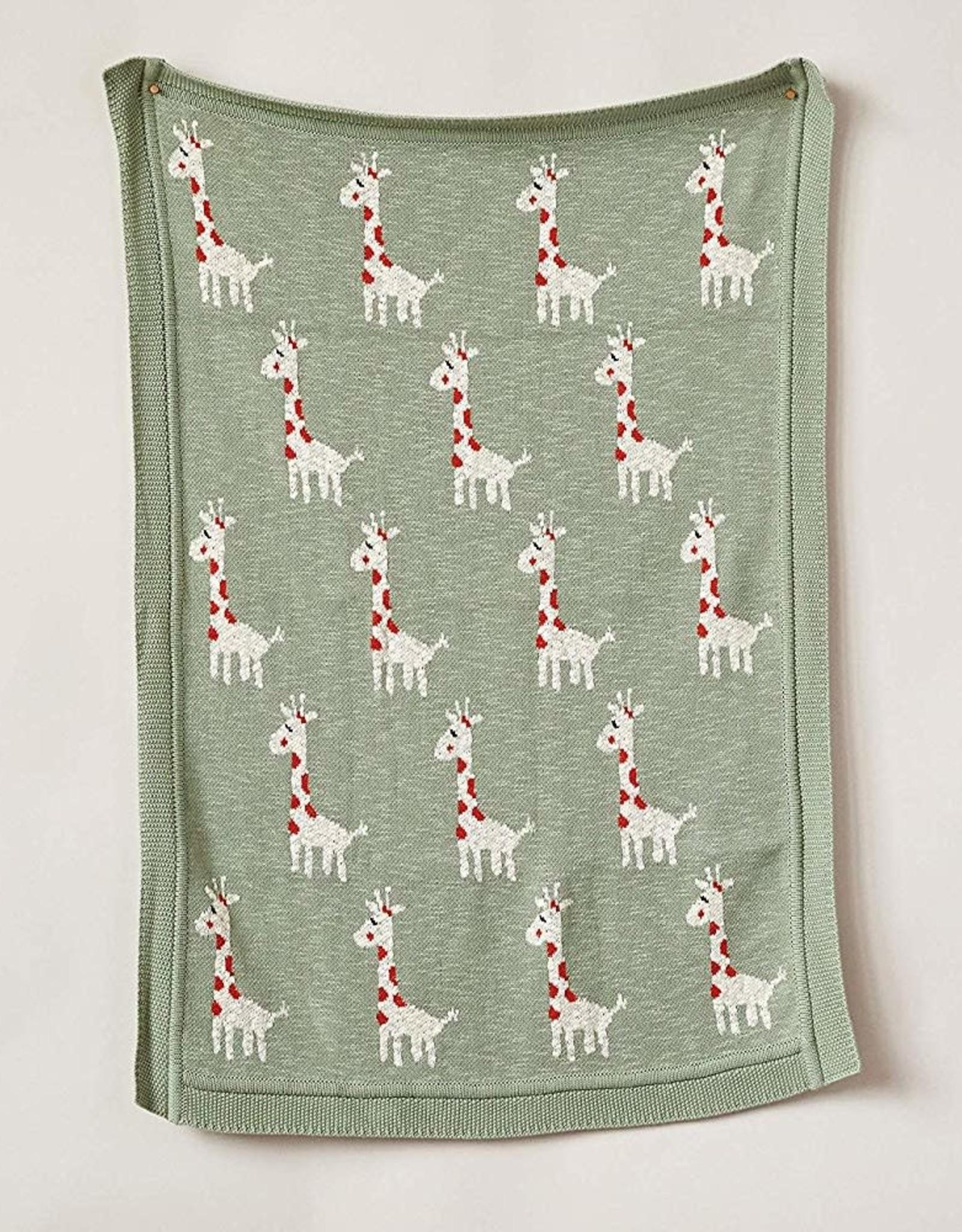 Creative Co-Op Giraffe Knit Baby Blanket