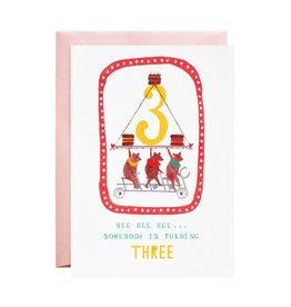 Mr. Boddington's Three Cycling Bears 3rd  Birthday Card