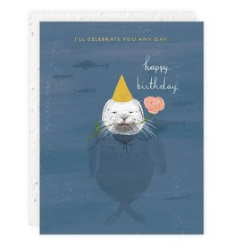Seedlings Seal Birthday Card