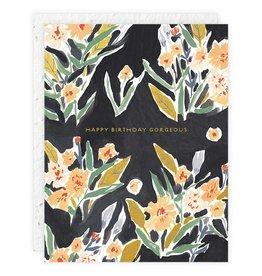 Seedlings Black Floral Birthday Card