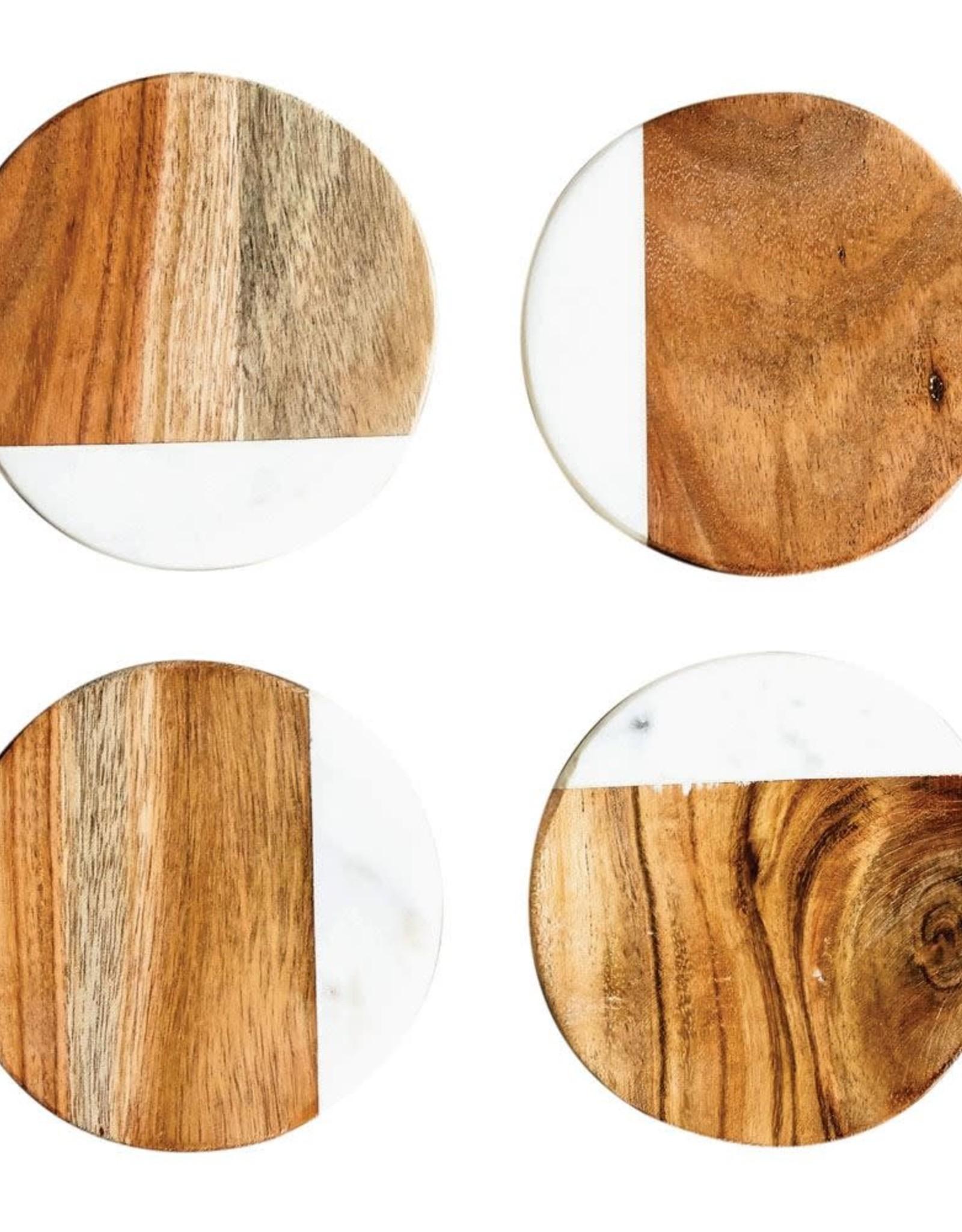 Marble & Mango Wood Coasters, Set of 4