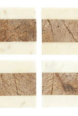 Square Marble Natural Coasters, Set of 4