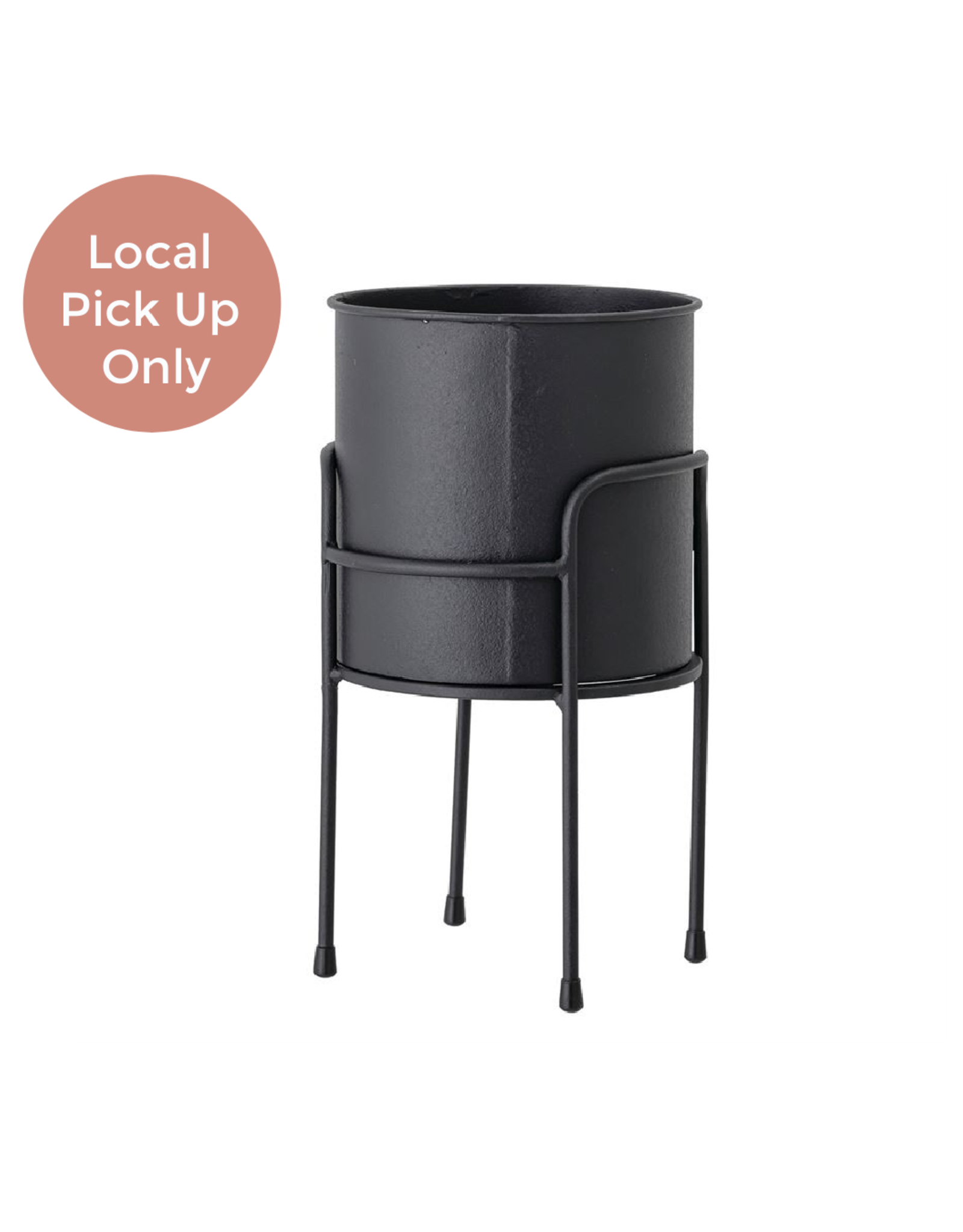 """Black Metal Pot with Stand 6.5 x 6.25"""""""