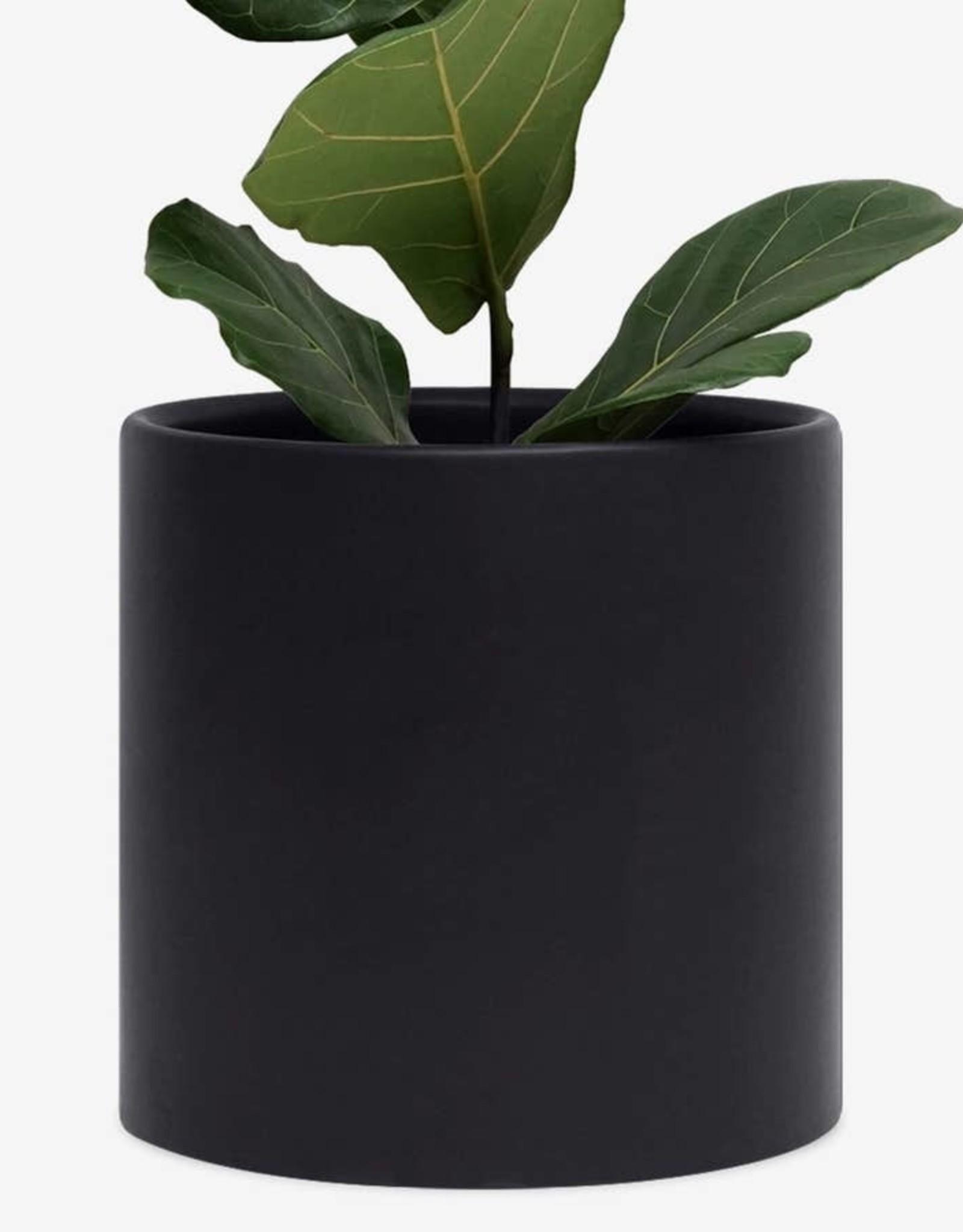 "Peach & Pebble 7-10"" Modern Ceramic Pot Black"