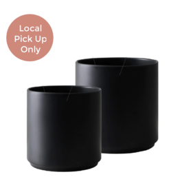 "Peach & Pebble 7-10"" Modern Ceramic Pot Black"