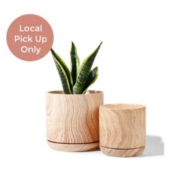 """Potey 4.2""""-5.1"""" Wooden Pattern Ceramic Pot"""
