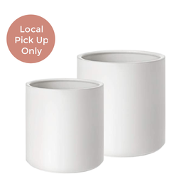 "Peach & Pebble 7-10"" Modern Ceramic Pot White"