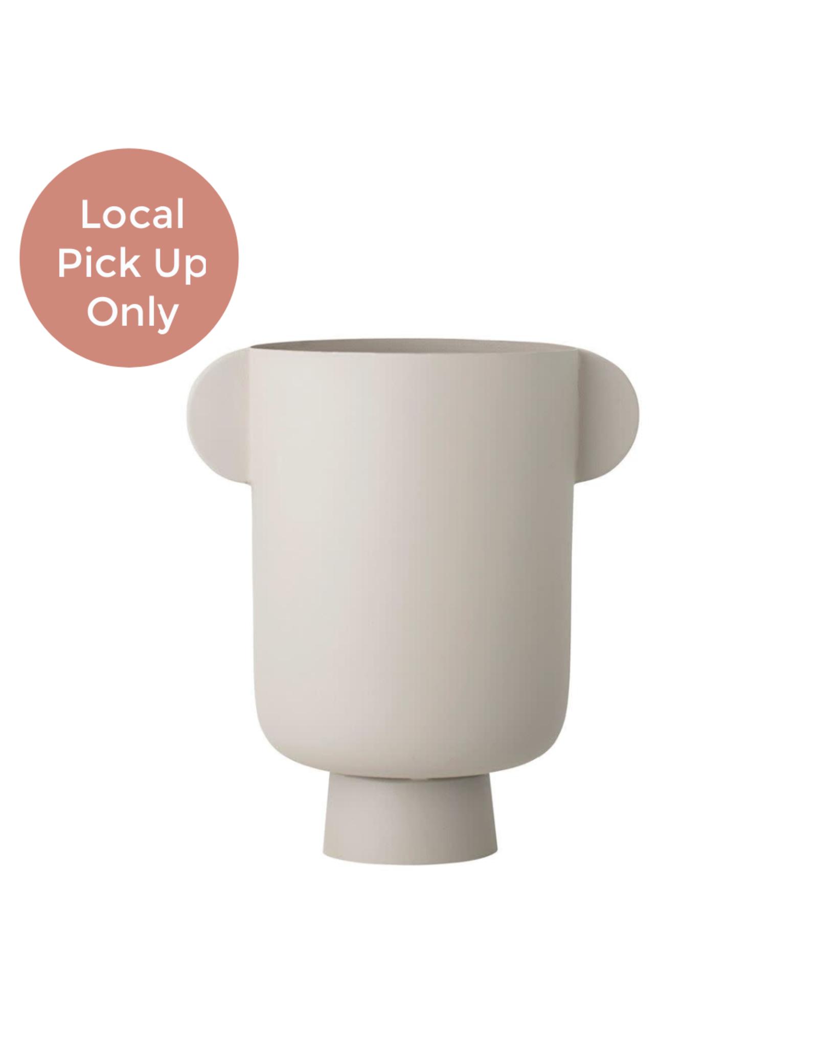 Matte Metal Vase with Handles