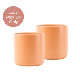 "Peach & Pebble 7""-10"" Modern Ceramic Pot Peach"