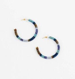 Altiplano Denim Beaded Hoop Earrings