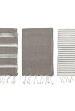 Cotton Stripe Fringe Tea Towels (Set of 3)