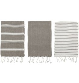 Creative Co-Op Cotton Stripe Fringe Tea Towels (Set of 3)