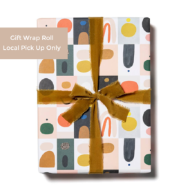 Red Cap Gift Wrap Roll - Color Blocks (3 sheets)