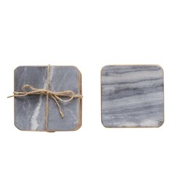 Creative Co-Op Square Marble Coasters - Set of 4