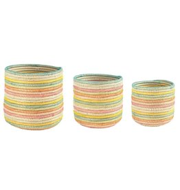 Creative Co-Op Woven Stripe Summer Basket