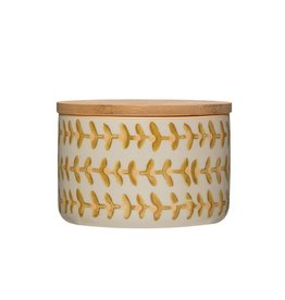 Ceramic Floral Canister with Lid