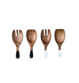 """10-1/2""""L Hand-Carved Wood Salad Servers (Set of 2)"""