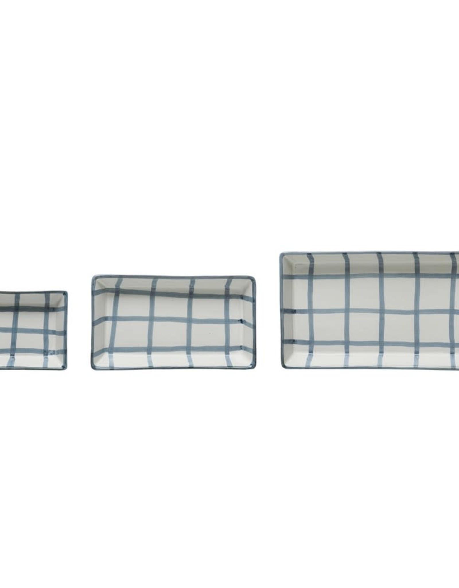 Blue and White Stoneware Trays