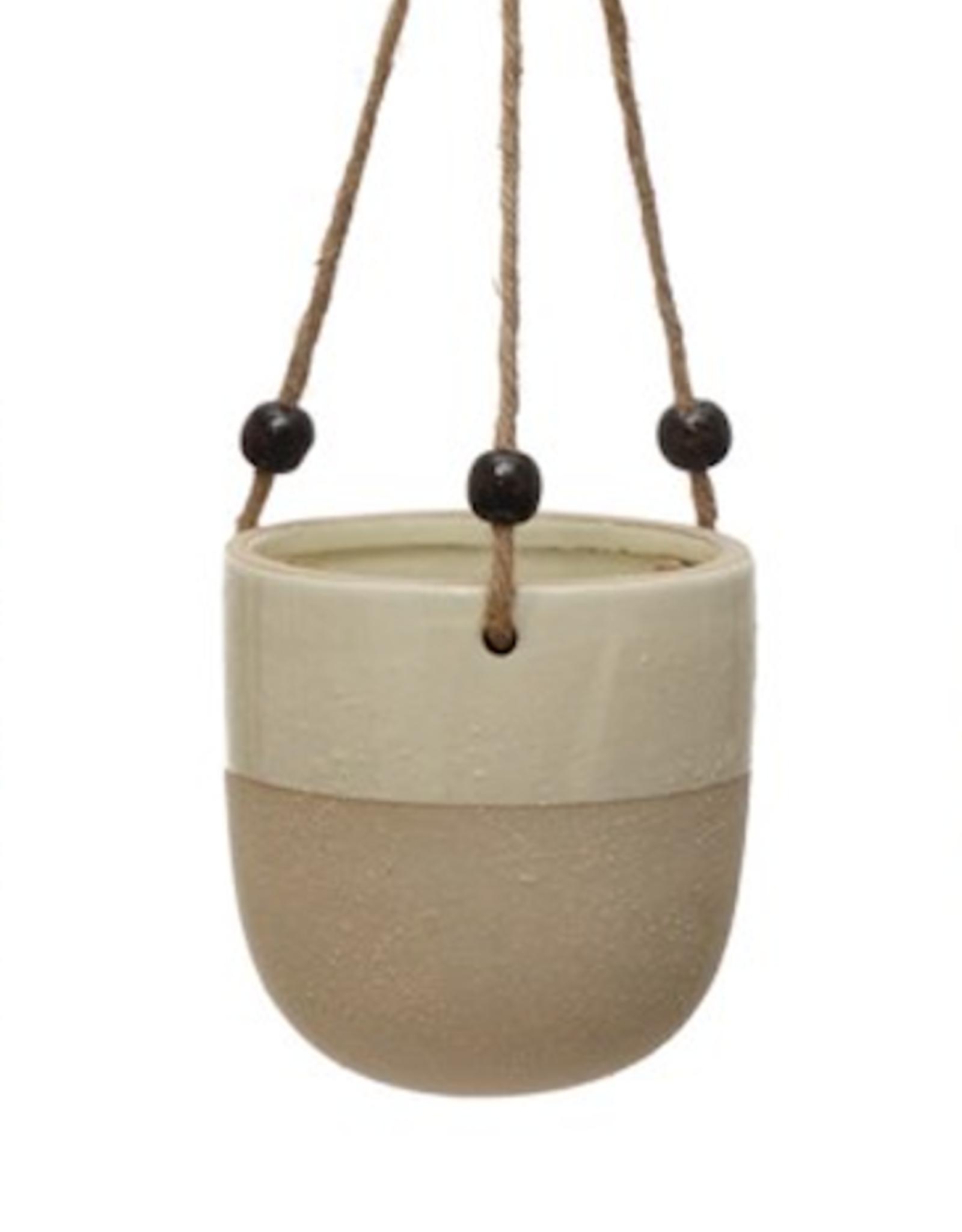"4.5"" Earthtone Stoneware Hanging Planter"