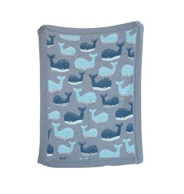Creative Co-Op Whale Knit Baby Blanket