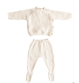 Creative Co-Op Cotton Knit Layette Set - Cream