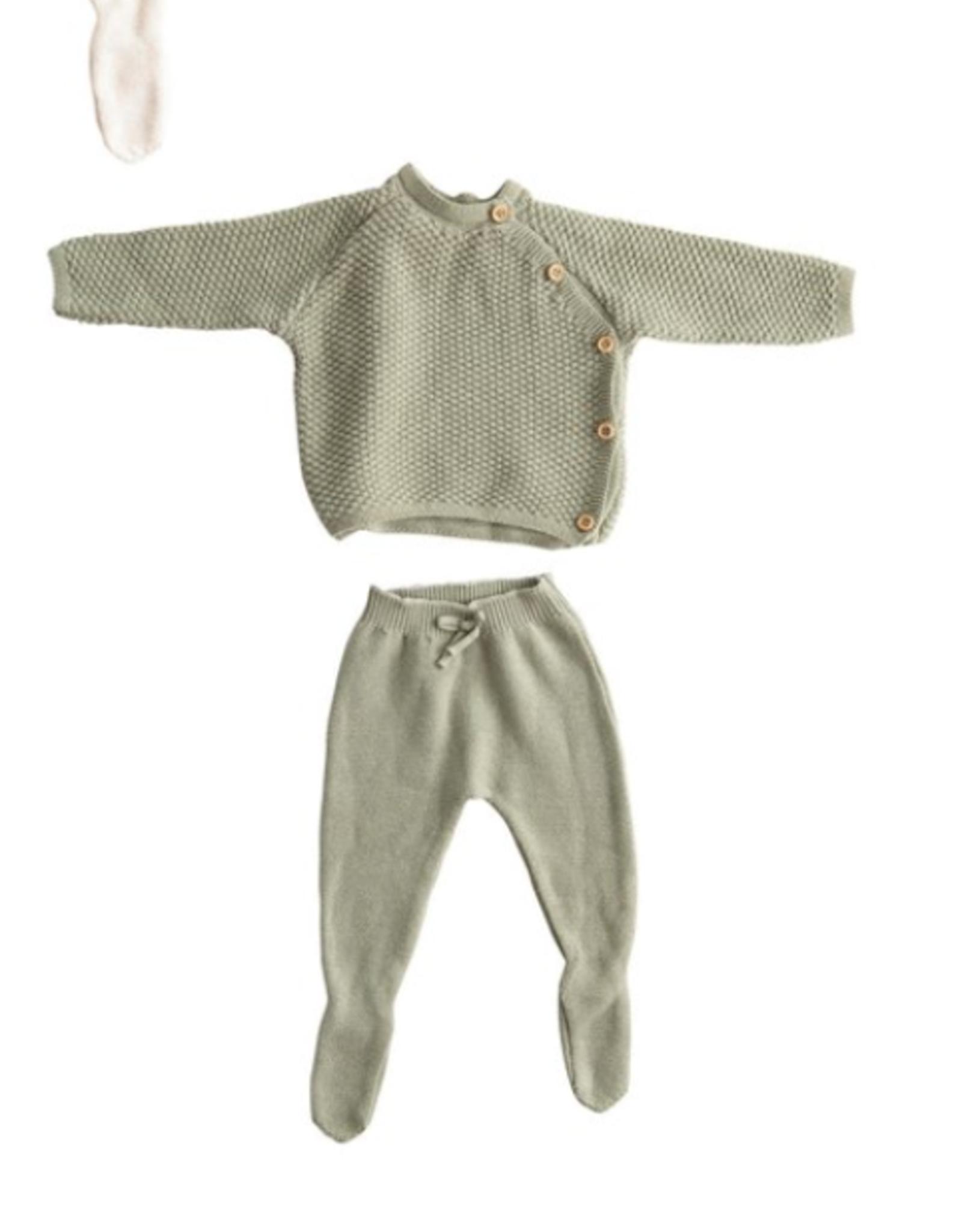 Creative Co-Op Cotton Knit Layette Set - Sage